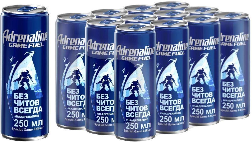 Напиток Adrenaline Game Fuel энергетический 250мл (упаковка 12 шт.)