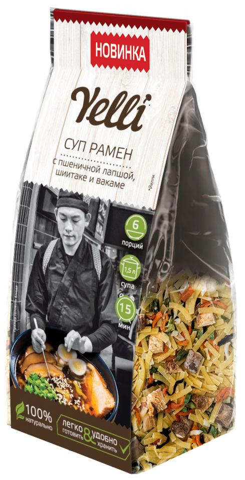 Суп Yelli Рамен с пшеничной лапшой шиитаке и вакаме  110г