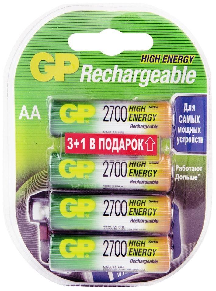 Отзывы о Аккумуляторы GP HR4 2600mAh AA 4шт