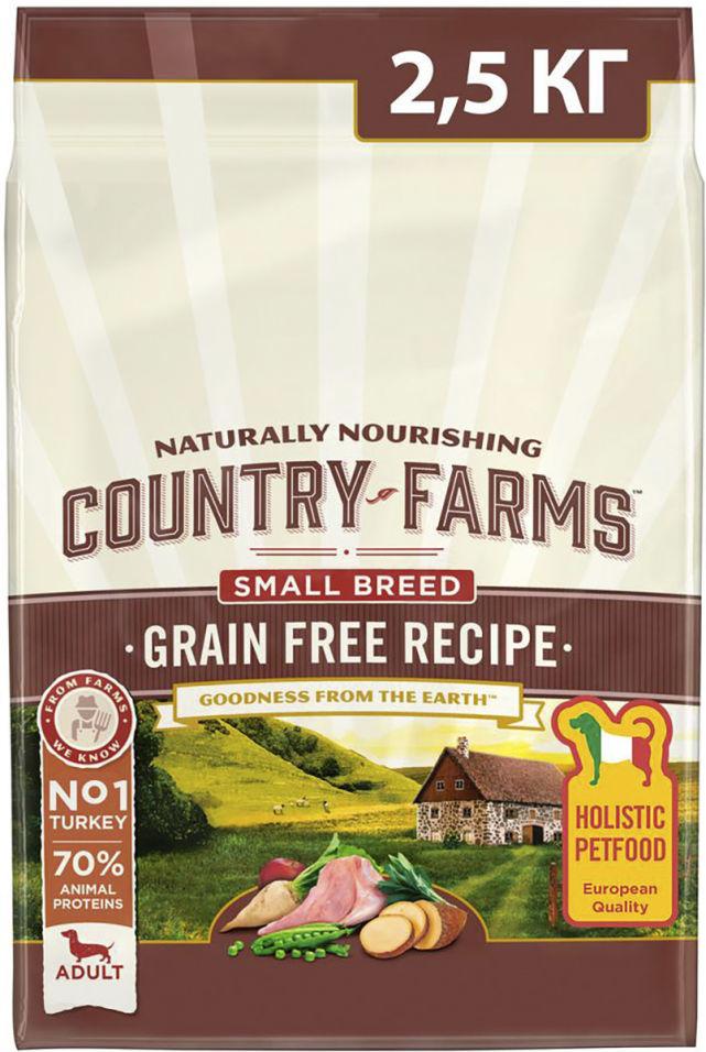Отзывы о Сухом корме для собак мелких пород Country Farms Grain Free Reсipe с индейкой 2.5кг