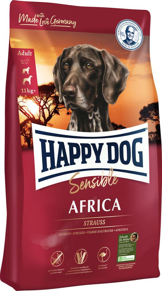 Сухой корм для взрослых собак Happy Dog Африка страус и картошка 1кг