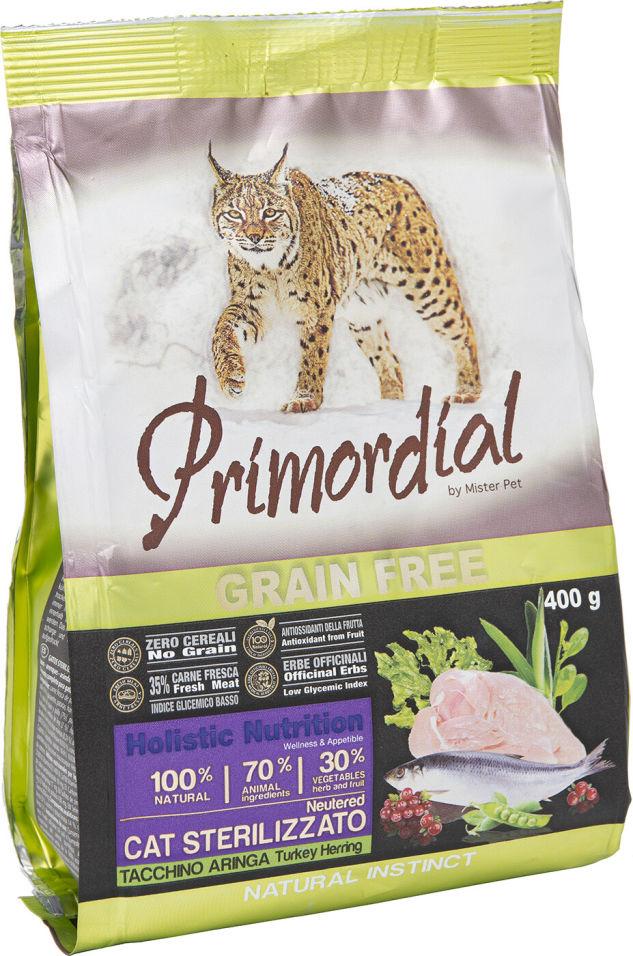 Сухой корм для стерилизованных кошек Primordial Индейка и Селедка 400г