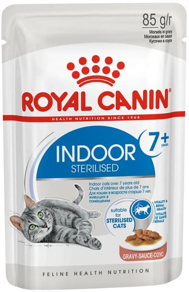 Корм для кошек Royal Canin Indoor Sterilised 7+ кусочки в соусе 85г