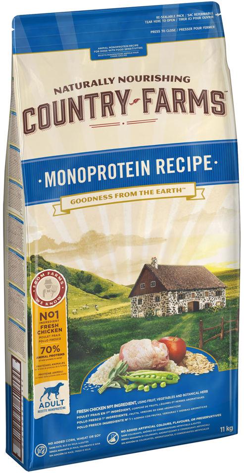 Сухой корм для собак Country Farms Monoprotein Recipe с курицей 11кг