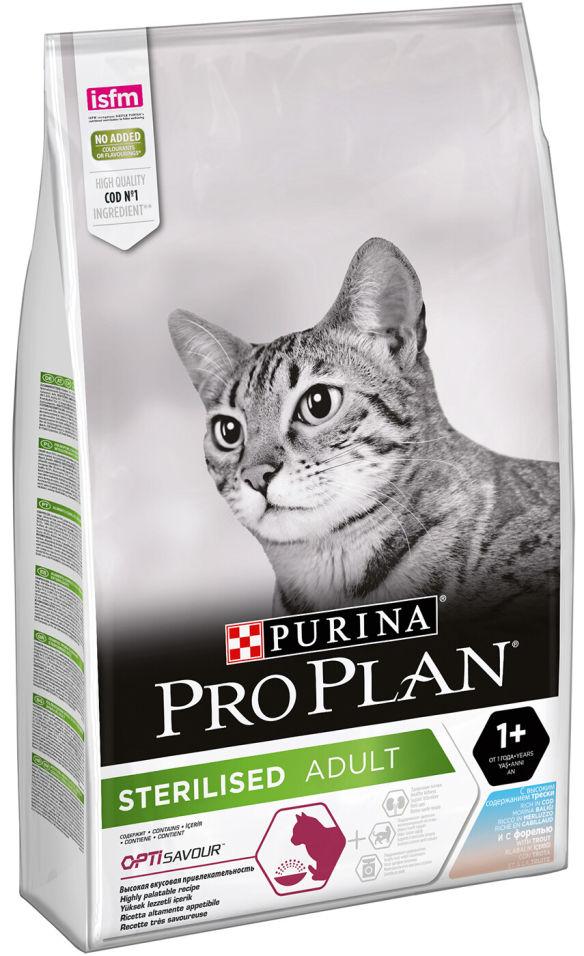 Сухой корм для кошек Pro Plan Opti Savour Стерилизованных с треской и форелью 10кг