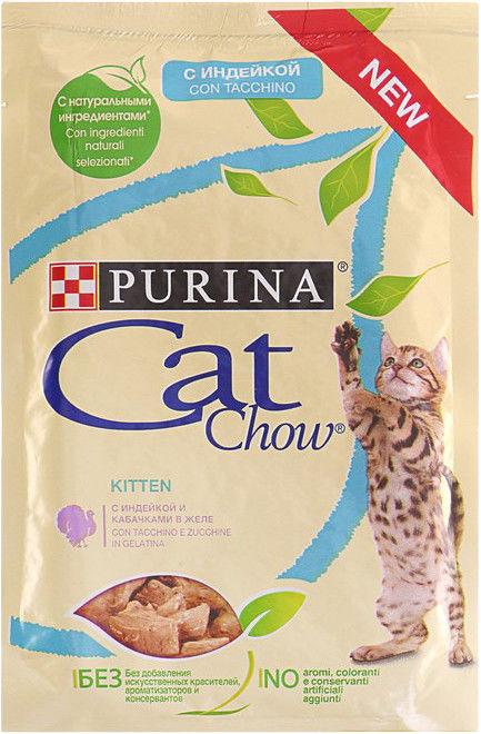 Корм для котят Cat Chow с индейкой и кабачками в желе 85г