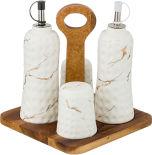 Набор для специй Lefard Золотой мрамор на деревянной подставке белый
