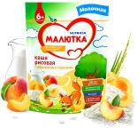 Каша Малютка Рисовая с абрикосом и персиком молочная 220г