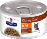 Влажный корм для кошек Hills Prescription Diet k/d при лечении заболеваний почек с курицей и овощами 82г