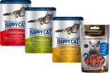 Набор корма для кошек Happy Cat Говядина и Баранина в соусе 100г + Цыпленок и Печень с морковью в желе 100г + Ягненок и Телятина с зеленой фасолью в желе 100г + Лакомство для кошек Деревенские Лакомства Дольки крольчатины нежные 45г