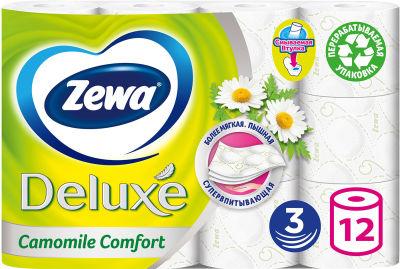 Туалетная бумага Zewa Deluxe Camomile Comfort 12 рулонов 3 слоя
