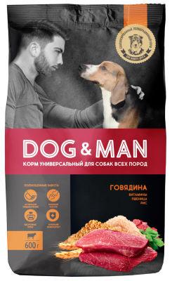 Сухой корм для собак Dog&Man универсальный с говядиной 600г