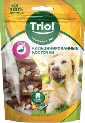 Лакомство для собак Triol Кальцинированные косточки с Уткой 70г