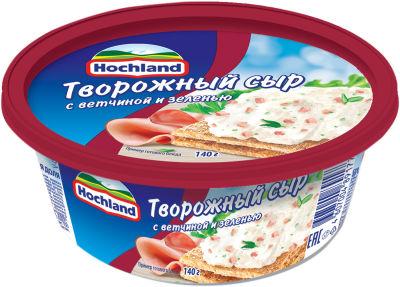 Сыр творожный Hochland с ветчиной и зеленью 60% 140г