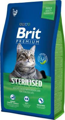Сухой корм для стерилизованных кошек Brit Premium с курицей и печенью 8кг