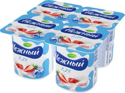 Продукт йогуртный Campina Нежный с соком клубники 1.2% 4шт*100г