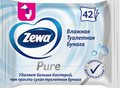 Туалетная бумага Zewa Pure без аромата влажная 42шт в ассортименте