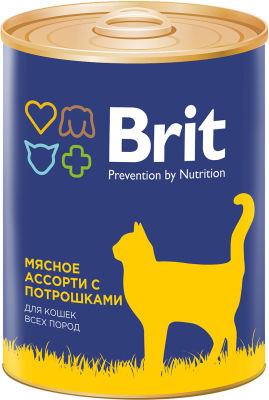 Корм для кошек Brit Мясное ассорти с потрошками 340г