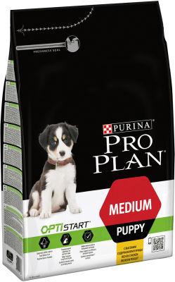 Сухой корм для щенков Pro Plan Optistart Medium Puppy для средних пород с курицей 3кг