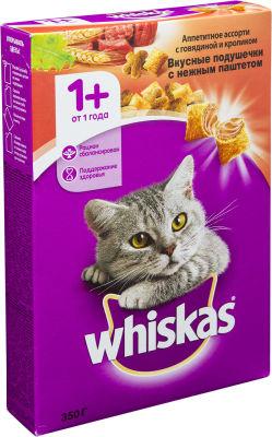 Сухой корм для кошек Whiskas Вкусные подушечки с паштетом Ассорти с говядиной и кроликом 350г