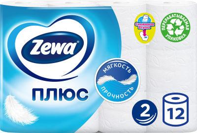 Туалетная бумага Zewa Плюс Белая 12 рулонов 2 слоя