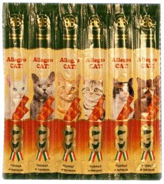 Лакомство для кошек B&B Allegro Cat! Колбаски Курица печень 6шт