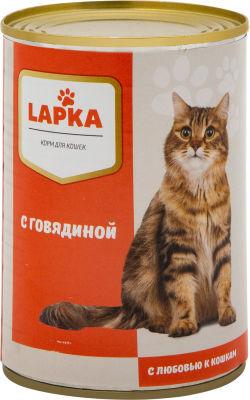 Корм для кошек Lapka с говядиной в соусе 415г